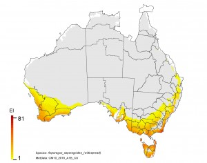 NRM regions and projected climatic suitability (EI) for bridal creeper based on CSIRO Mk3 global climate model (GCM) projections for 2070, based on the A1B SRES emissions scenario.