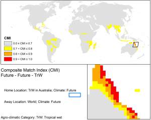 CLIMEX match climates for the Wet Tropics using CSIRO Mk3 projections to 2070 based on the A1B SRES scenario.