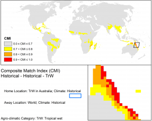 CLIMEX match climates for the Wet Tropics using climate averages from 1961-1990