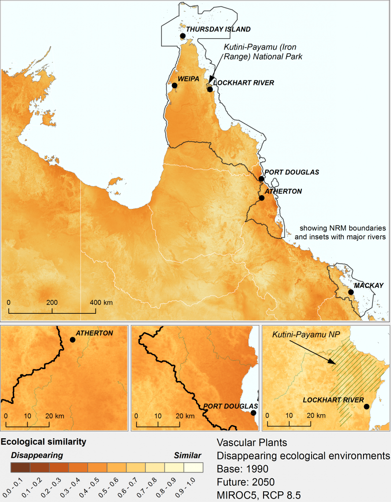 Gradients in the degree to which ecological environments are tending to disappear for vascular plants under the high emissions' mild MIROC5 climate scenario by 2050, within regions broadly associated with the Wet Tropics. Darker colours signify greater tendency to disappear.