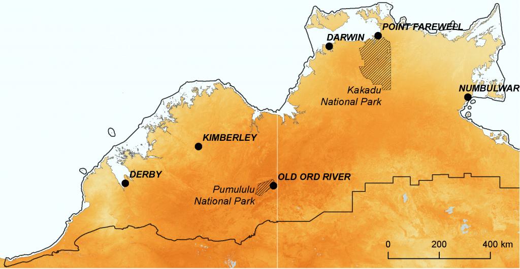 Degree to which ecological environments are becoming novel for mammals in northern Australia (hot CanESM2)
