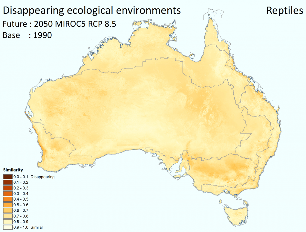 The degree to which ecological environments are tending to disappear across Australia for reptiles by 2050, under the high emissions' mild MIROC5 climate scenario. Darker colours signify greater tendency to disappear. While the legend shows 10 categories, the mapped data itself is continuous.