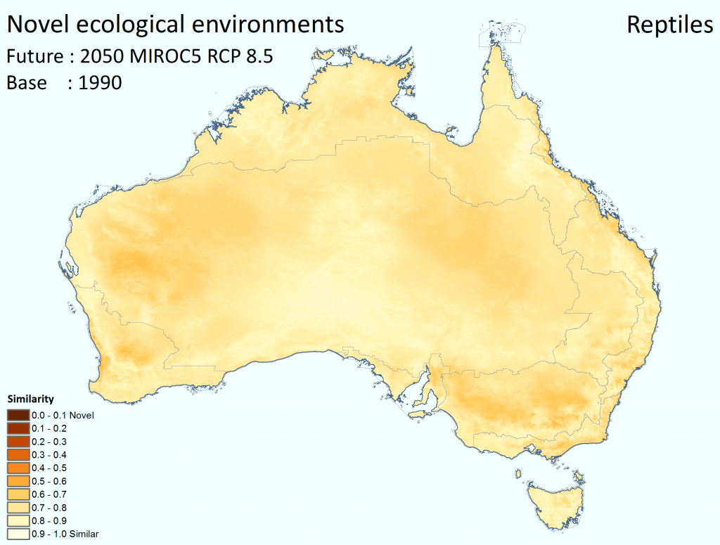 Novel ecological environments in Australia for reptiles. 2050 MIROC5 RCP 8.5