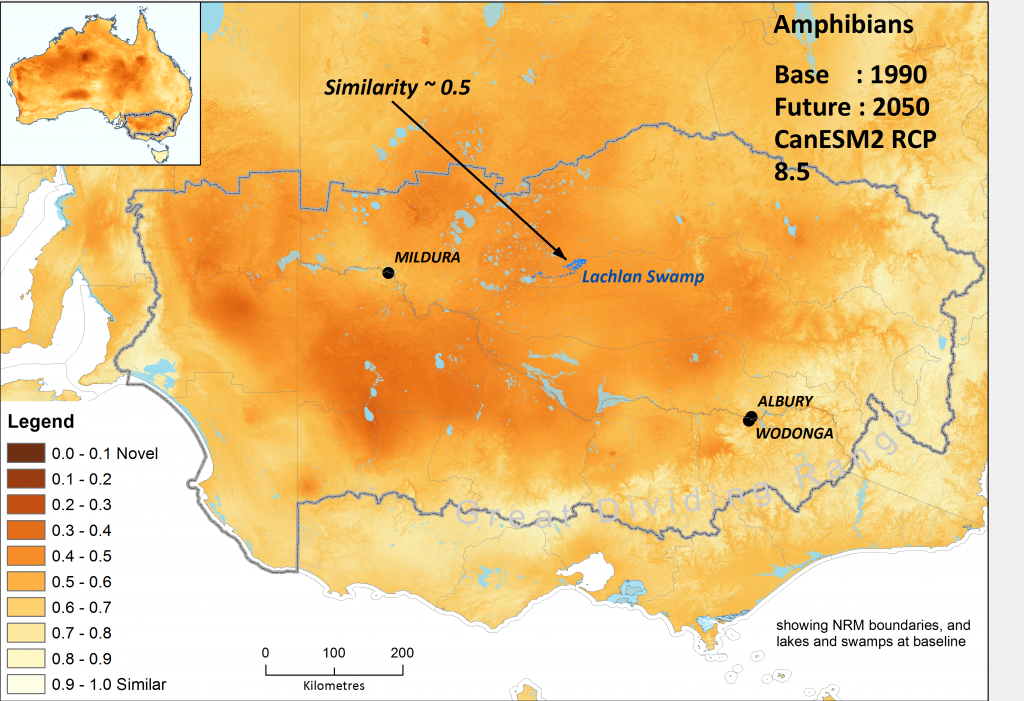 Gradients in the degree to which ecological environments are becoming novel for Australian amphibians under the high emissions' hot CanESM2 climate scenario by 2050, within regions broadly associated with the lower Murray Basin.