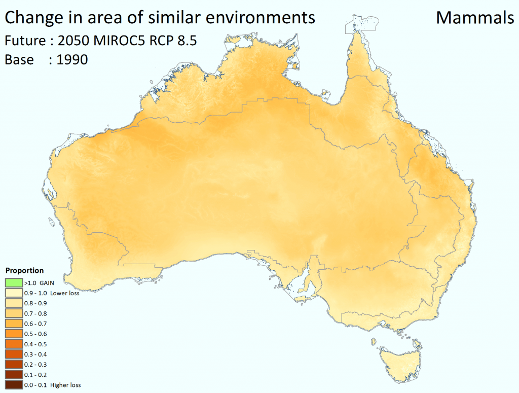 Change in effective area of similar ecological environments for mammals by 2050 using the high emissions' mild MIROC5 climate scenario and assuming intact habitats. Darker colours signify lower proportion of similar habitat remaining by 2050; lighter colours signify less change and, in some cases, a gain in effective area (green). While the legend shows 10 categories, the mapped data itself is continuous.