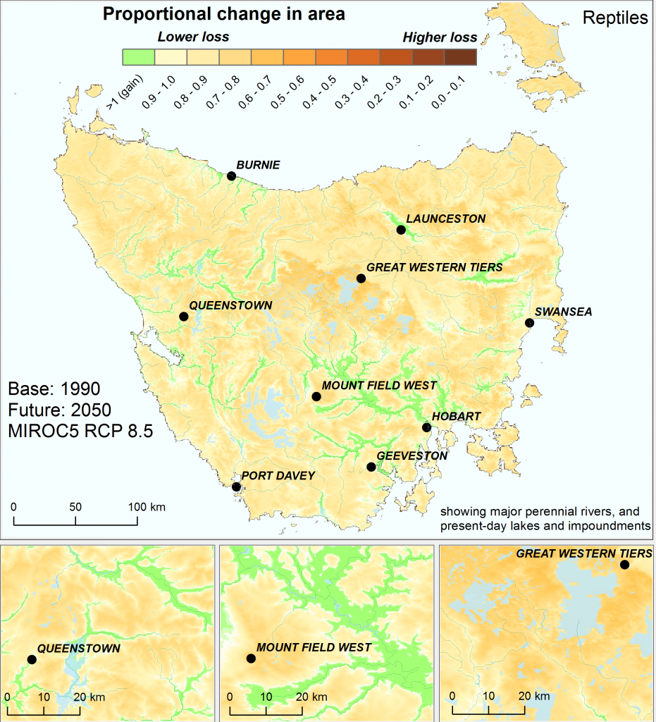 Change in effective area of similar ecological environments for reptiles in Tasmania by 2050, using the high emissions' mild MIROC5 climate scenario, not accounting for past land clearing. Analysis based on the Australian continent.