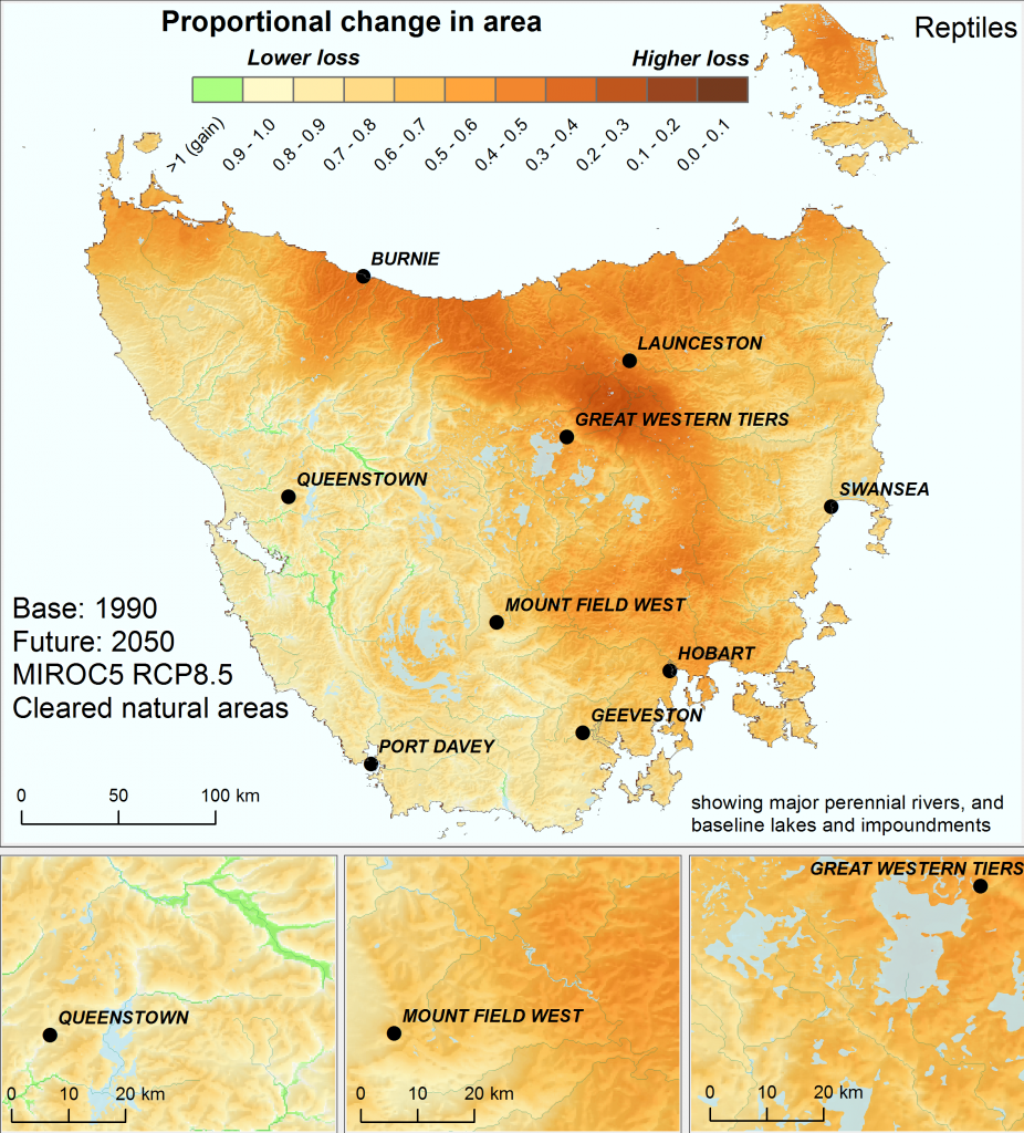 Change in effective area of similar ecological environments for reptiles in Tasmania by 2050, using the high emissions' mild MIROC5 climate scenario, and including the effects of past land clearing. Analysis based on the Australian continent.