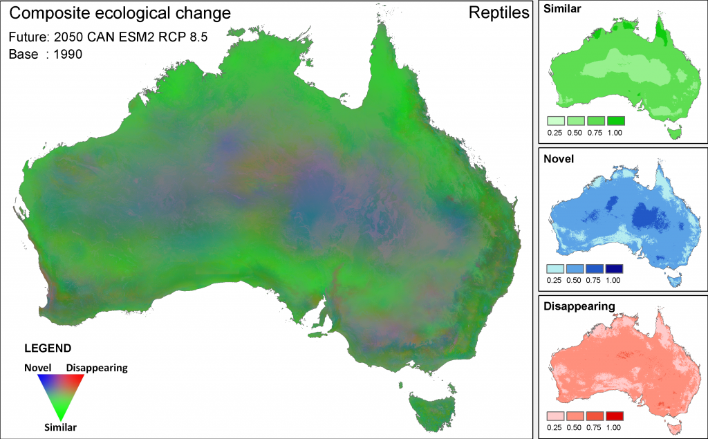Patterns of composite ecological change for reptiles under the high emissions' hot CanESM2 climate scenario. This image combines three datasets: the potential degree of ecological change and the degree to which ecological environments are becoming novel and tending to disappear. The images on the right hand side of the figure guide interpretation, but continuous data (rather than the four categories) were used to produce the composite image. Note that the ecological similarity scaling for the novel and disappearing measures has been inverted.