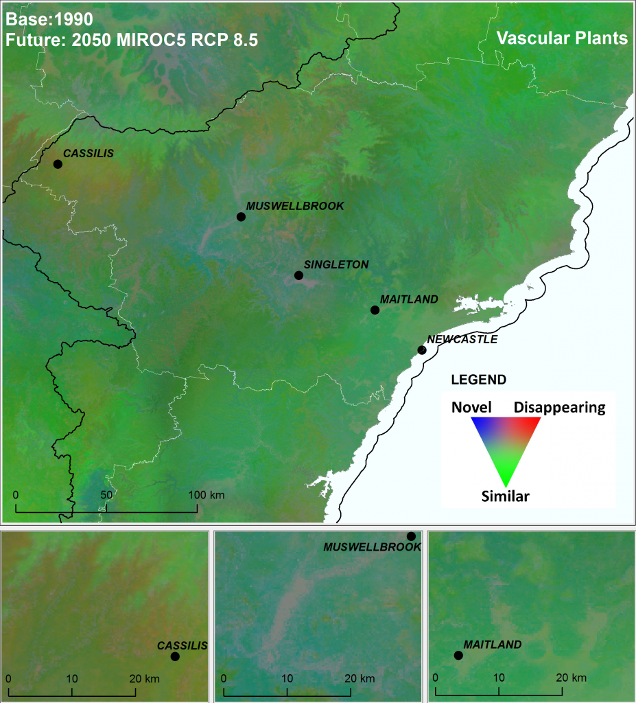 Composite ecological change identified for vascular plants under the high emissions' mild MIROC5 climate scenario for the greater Hunter Valley region in New South Wales.