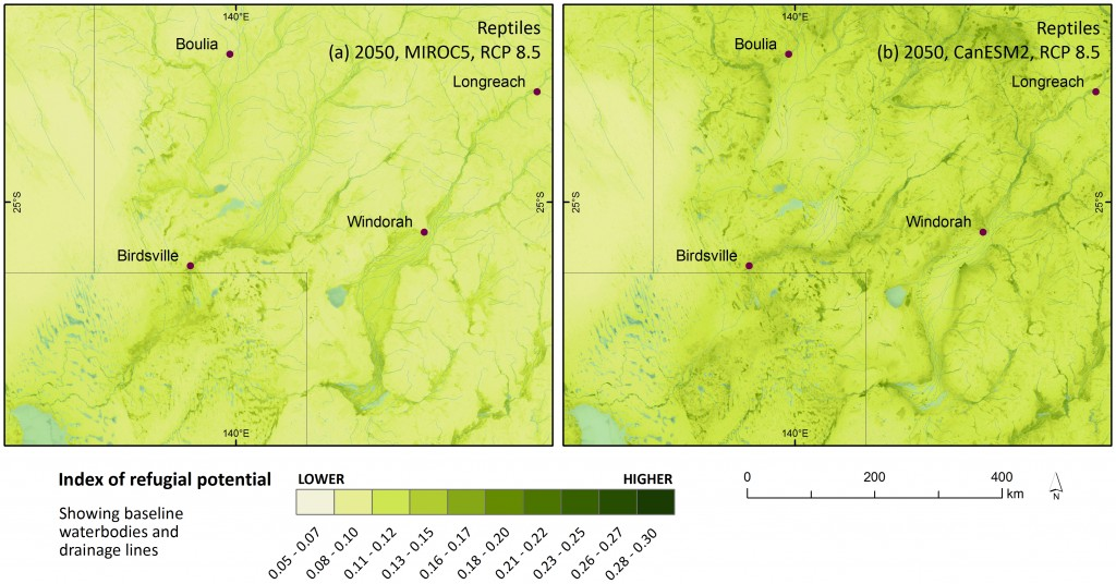 (a) Refugial potential for reptiles in the Channel Country at the intersection of the Queensland, NSW and South Australian borders, under the high emissions' mild MIROC5 climate scenario; and (b) hot CanESM2. Image shows baseline lakes and drainage lines in blue for context.