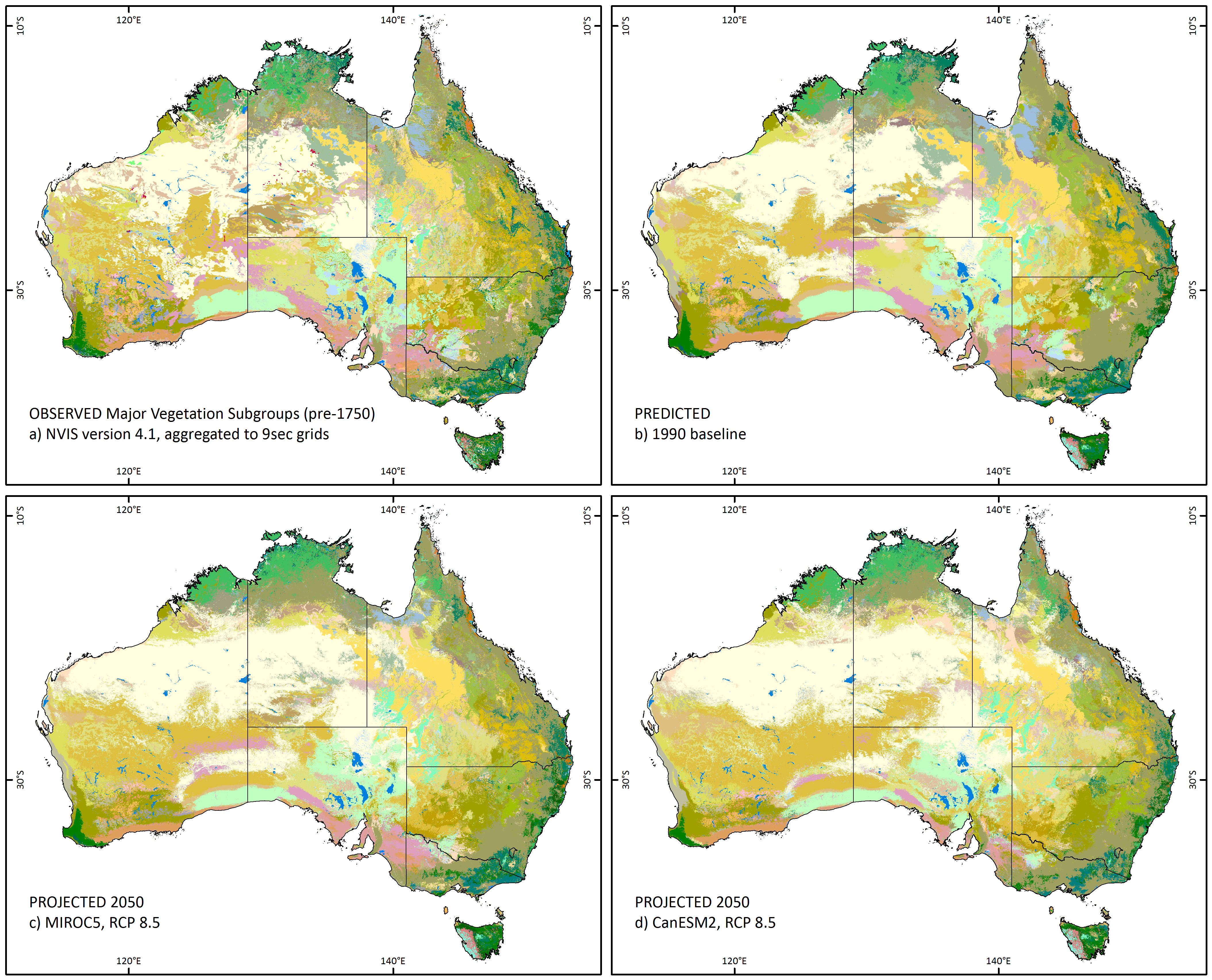 Australia Map Vegetation.Adaptnrm Will The Distribution Of Vegetation Types Change